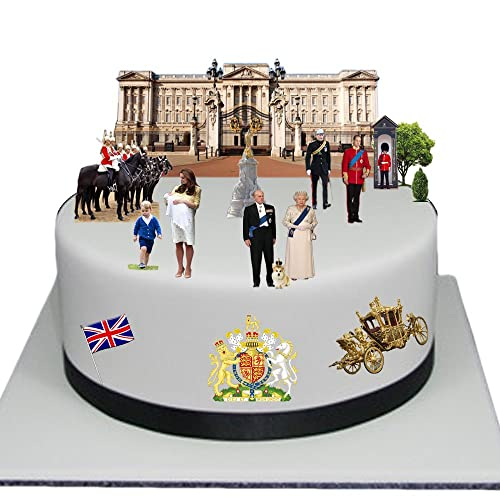 Stand Up Royal Family Buckingham Palace Cake Scene Premium Edible Wafer Paper Cake Toppers - Easy to Use