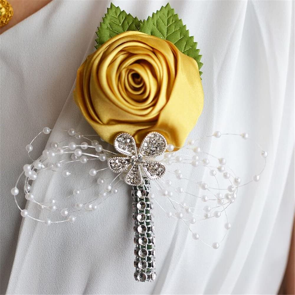 S-ssoy Boutonniere Romantic Flower Bridegroom Groom Mens Brooch Boutonniere Groomsmen Best Man Boutineer Corsage with Pin for Wedding Prom Homecoming Party Champagne Pack of 2