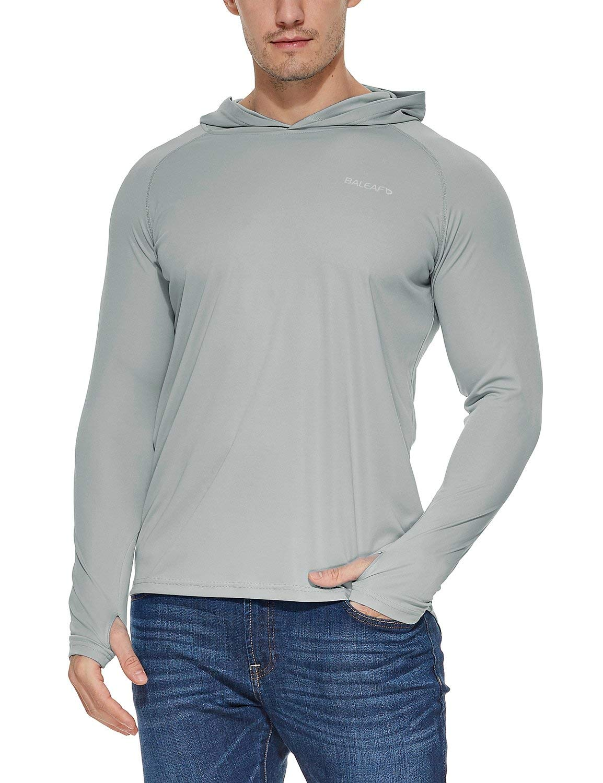 Baleaf Men's UPF 50+ Sun Protection Basic Long Sleeve Performance Hoodie T-Shirt Gray XL