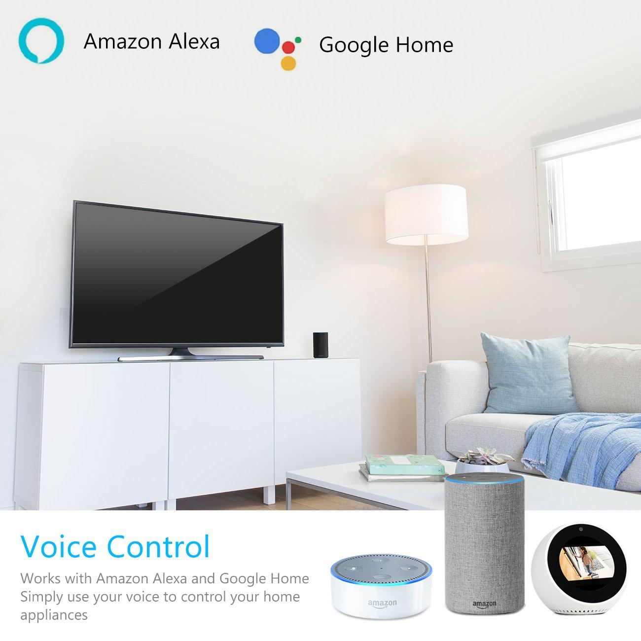 Google Home IFTTT Prise Interrupteur programmable T/él/écommande App 2000W 10A Prise Intelligente WiFi USB Port Compatible Contr/ôle Vocale Timer avec  Alexa Prise Connect/ée Echo et Echo Dot