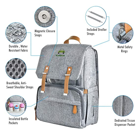 Kiddale Baby Diaper Mummy Bag Backpack With Diaper Changing Station and Stroller Hooks-Grey