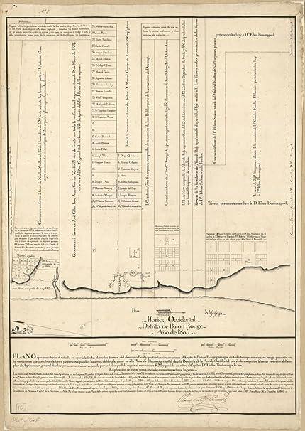 Amazon.com: Vintage 1805 Map of Florida Occidental, Distrito de ...
