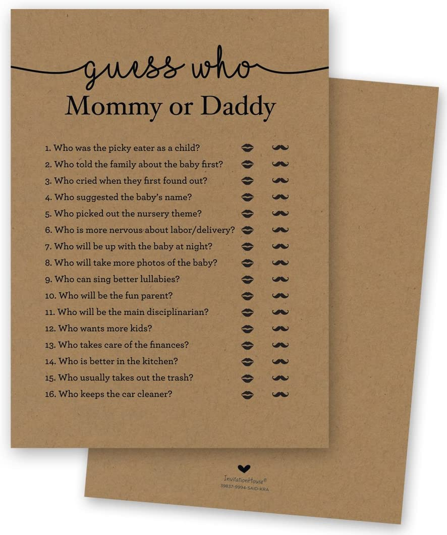 24 cnt Mommy or Daddy Guess Who Baby Shower Game (Kraft)