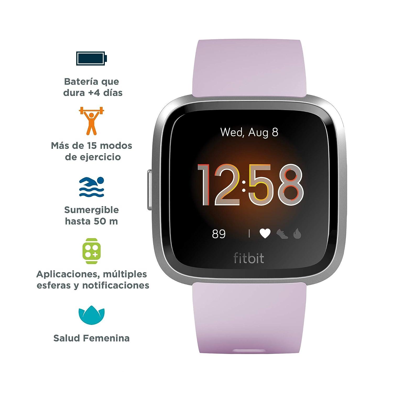 Fitbit Versa Lite - Reloj Deportivo Smartwatch, Adultos Unisex, Lila/Plata Aluminio, Talla única: Amazon.es: Deportes y aire libre
