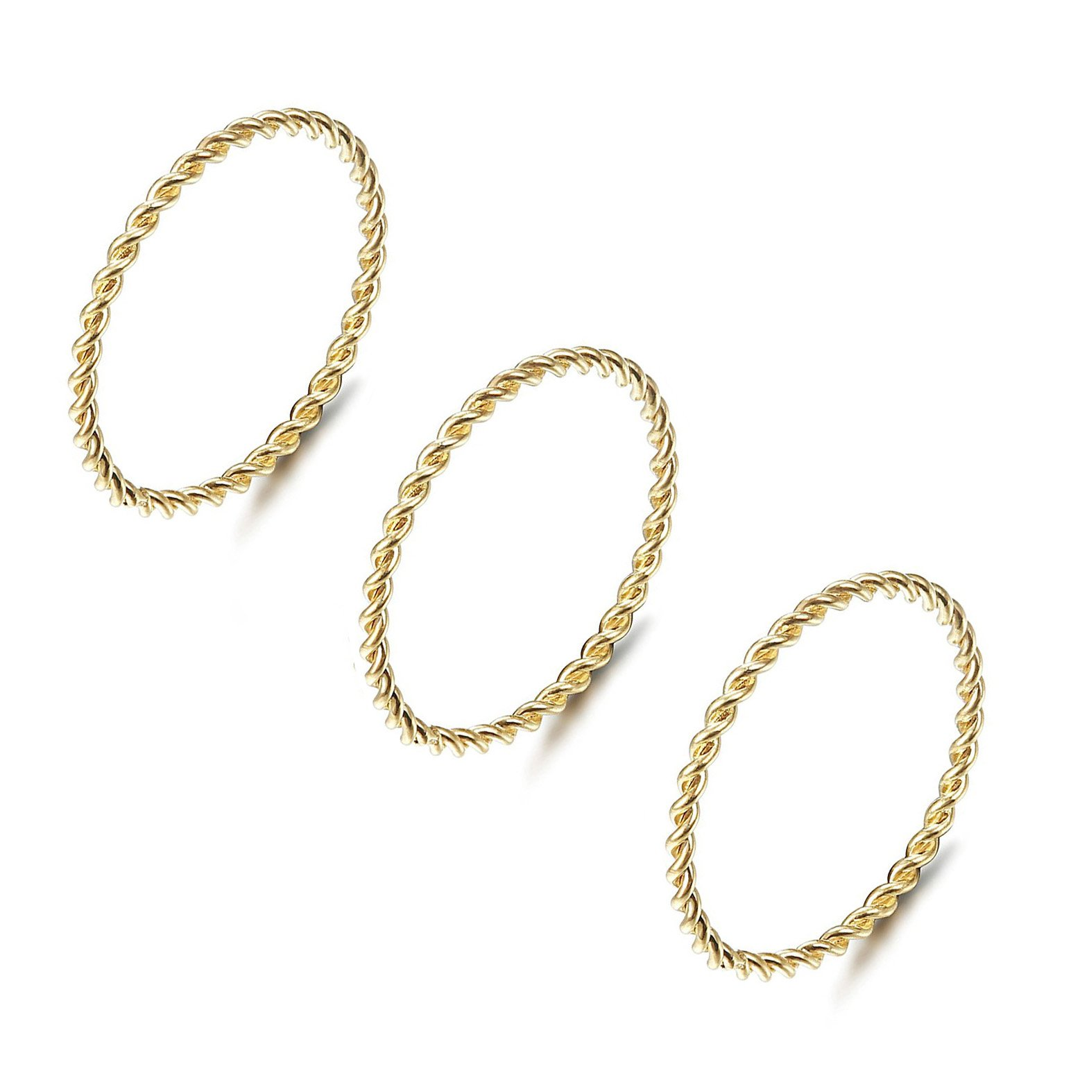 IFUAQZ 3 Pcs Stainless Steel 1MM Thin Twisted Rope Stacking Midi Rings for Women Girls Engagement Wedding Ring Gold Size 5