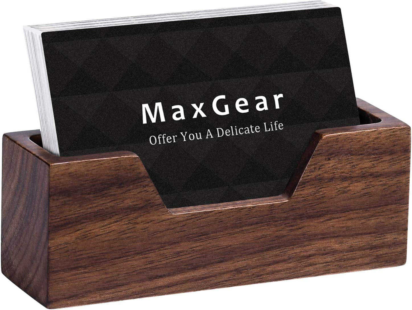 MaxGear Wood Business Card Holder for Desk Business Card Display Holder Desktop Business Card Stand for Office,Tabletop - Rectangle with Open Design