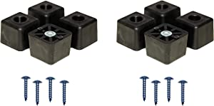 8 Large Cube Square Rubber Feet Bumpers w/Screws - 1.125 H X 1.500 W - Made in USA - Heavy Duty - Non Marking for Furniture, Tables, Chairs, Desks, Benches, Sofas, Chests, Other Large Items.