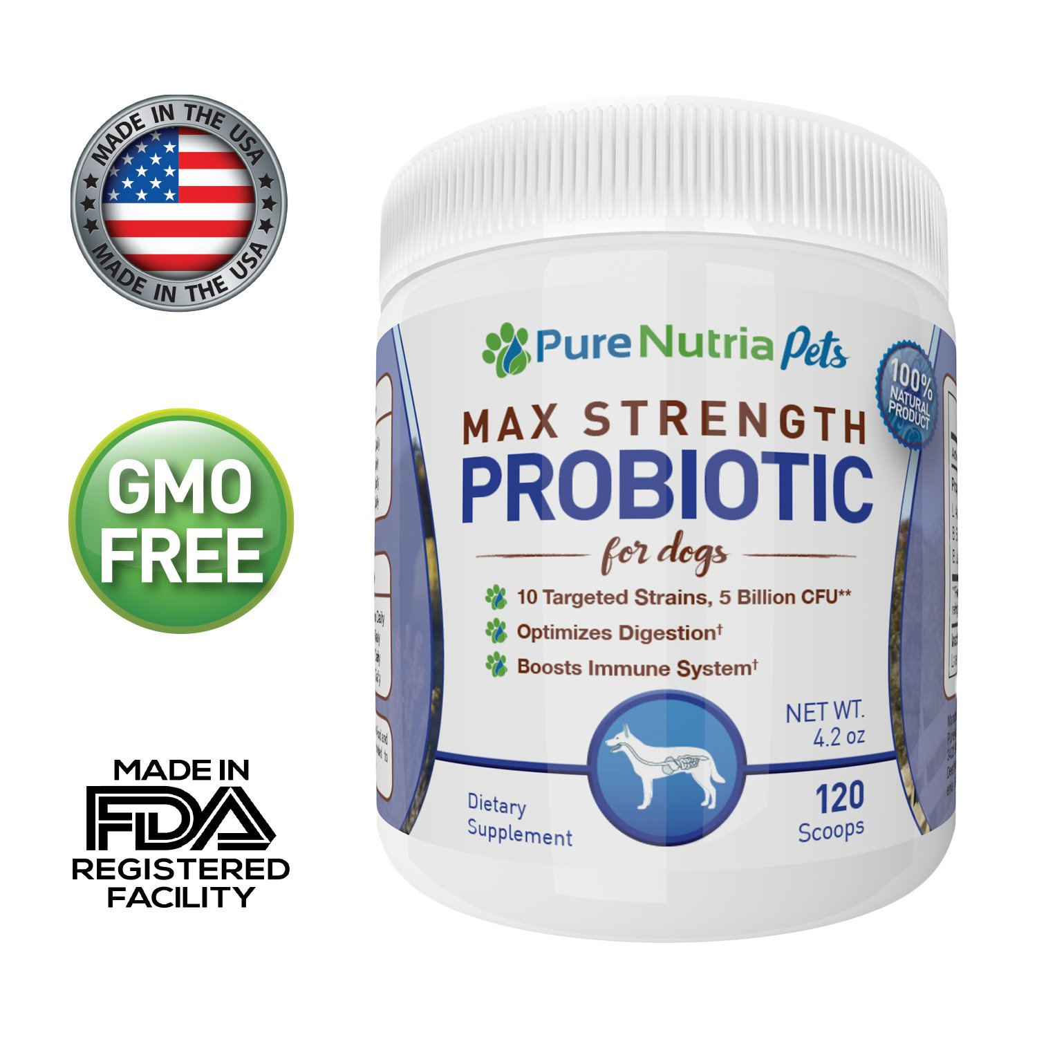 PureNutria 5 Billion CFU Dog Probiotic and Digestive Health Supplement for Dogs - 10 Targeted Strains in Our Best Rated Probiotic for Pets