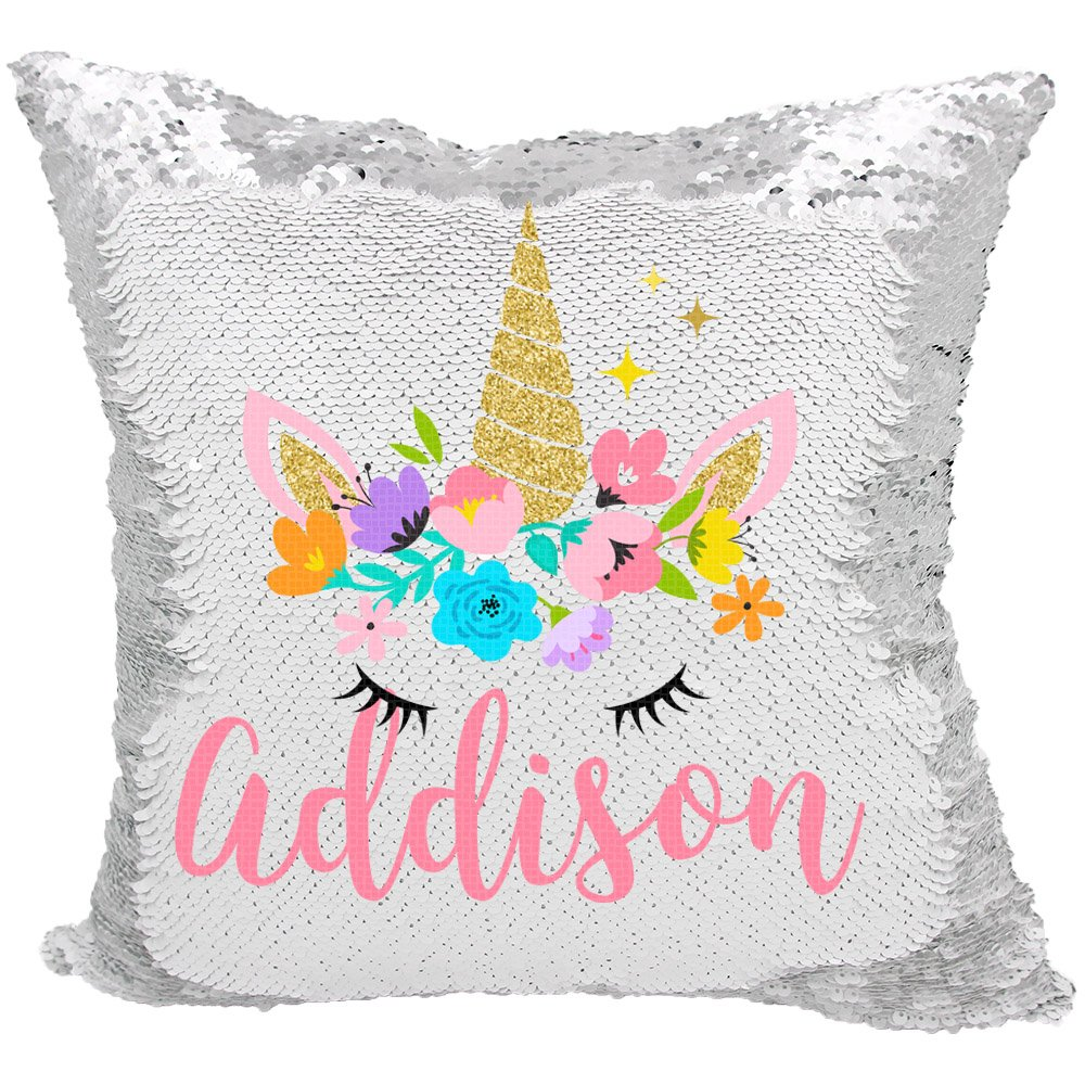Personalized Mermaid Reversible Sequin Pillow, Custom Unicorn Sequin Pillow For Girls (White/Silver)