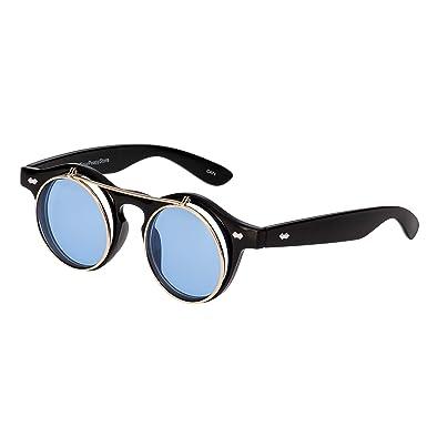 f4fedbfaf8 Ultra Black Frame Aqua Blue Lenses Flip Up Circle Premium Quality Steampunk  Glasses Retro Women Men