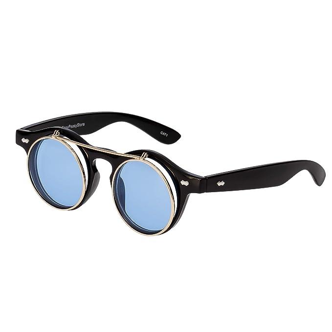 0321e959d7b Ultra Black Frame Aqua Blue Lenses Flip Up Circle Premium Quality Steampunk  Glasses Retro Women Men