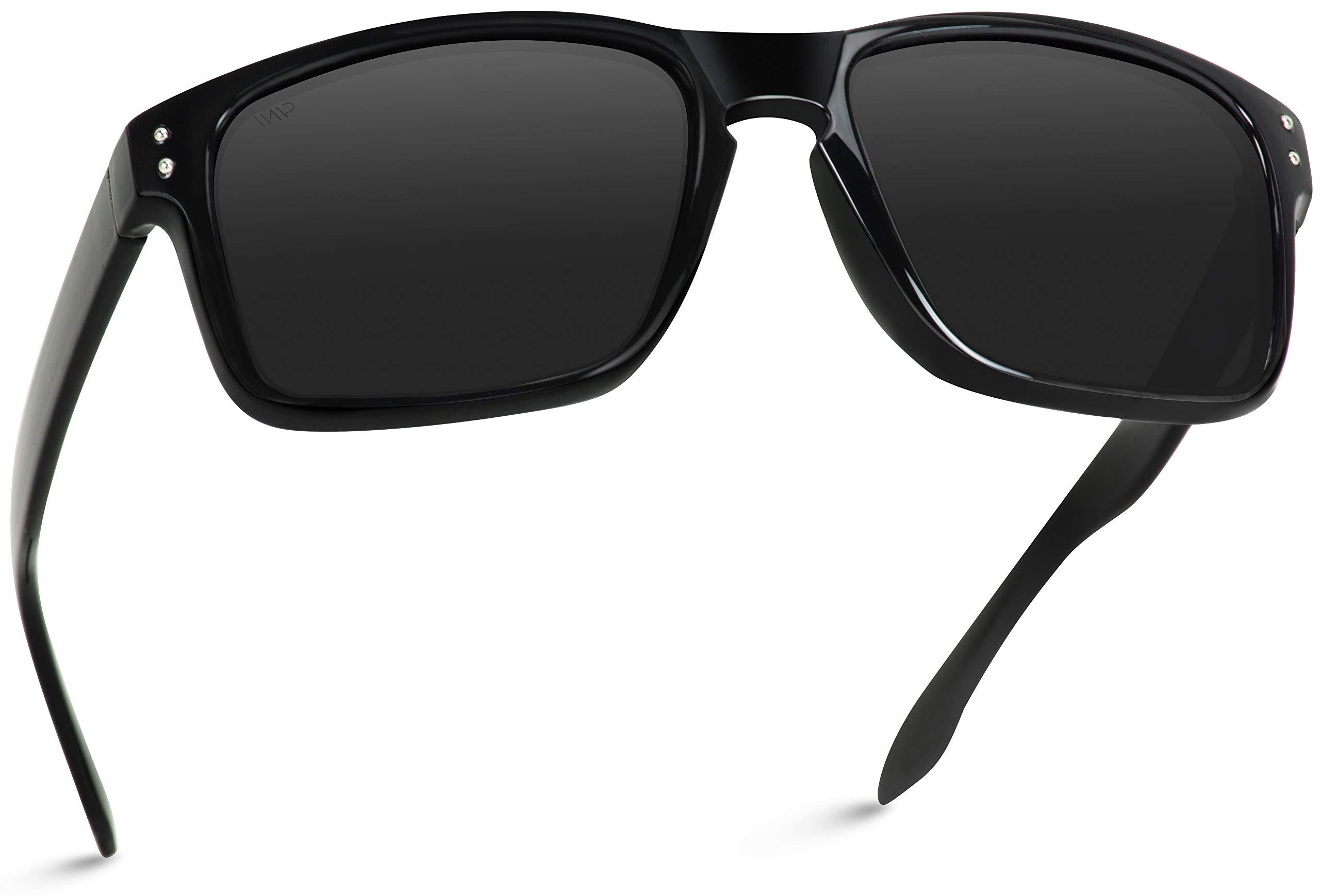 WearMe Pro - Premium Polarized Mirror Lens Classic Style Sunglasses (Black, 53) by WearMe Pro
