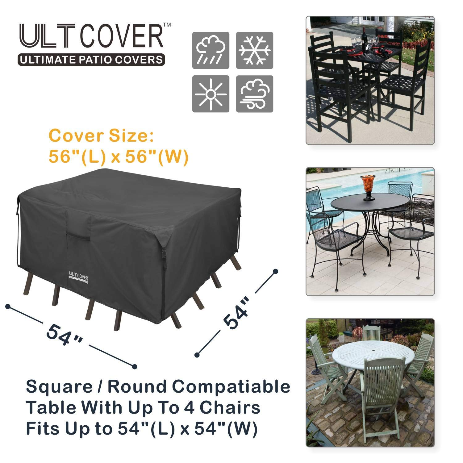 Amazon.com : ULTCOVER 600D PVC Durable Square Patio Table with Chair Cover, 100% Waterproof Outdoor Furniture Table Covers 54 inch, Black : Garden & Outdoor