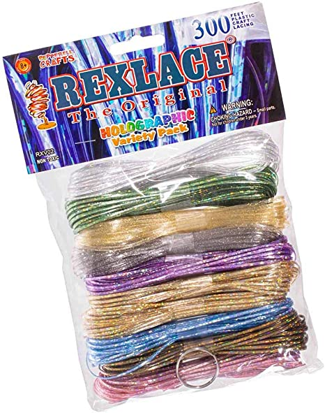 3 Colors - 300 Feet Plastic Craft Lacing Rexlace Variety Pack Treslace