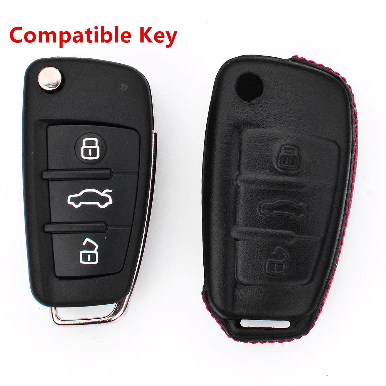 Audi A1 A3 Q3 Q7 TT S3 R8 Car Remote Pouch with Key Rings Keychain Holder Metal Black RoyalFox Genuine Leather 3 Buttons Key Fob case Cover for Audi Folding flip Key