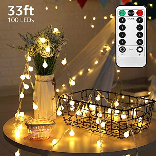 LED String Lights,33ft 100 Led Waterproof Ball Lights, Battery Powered Starry Fairy Globe String Lights with Remote Timer for Bedroom, Garden, Christmas Tree, Wedding, Party Warm Light