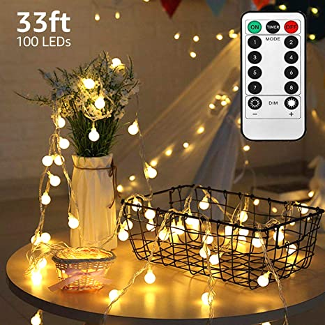 Led String Lights 33ft 100 Led Waterproof Ball Lights Battery Powered Starry Fairy Globe String Lights With Remote Timer For Bedroom Garden Christmas Tree Wedding Party Warm Light Amazon Com