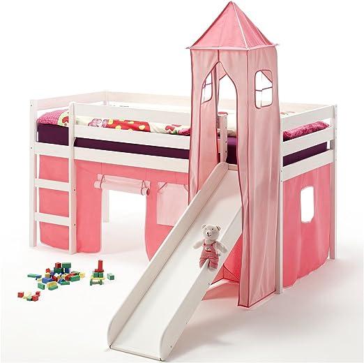 Hochbett Spielbett Kinderbett Leiter Kiefer mit Vorhang pink 90x200 Jugendbett