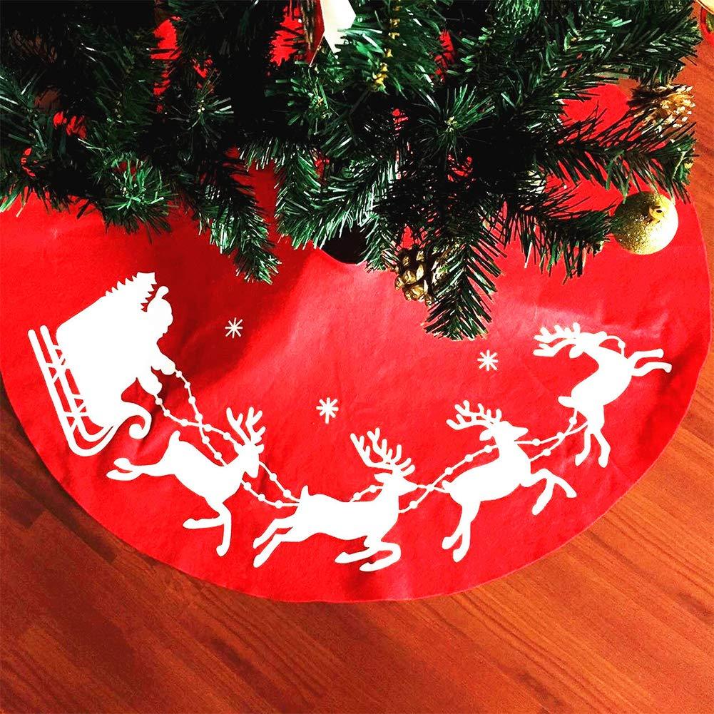 Chiristmas Tree Skirt base cover, 1m lusso iuta decorazione gonna albero di Natale Natale–Babbo Natale Decor grembiule Wrap Taglia libera Red GEZICHTA