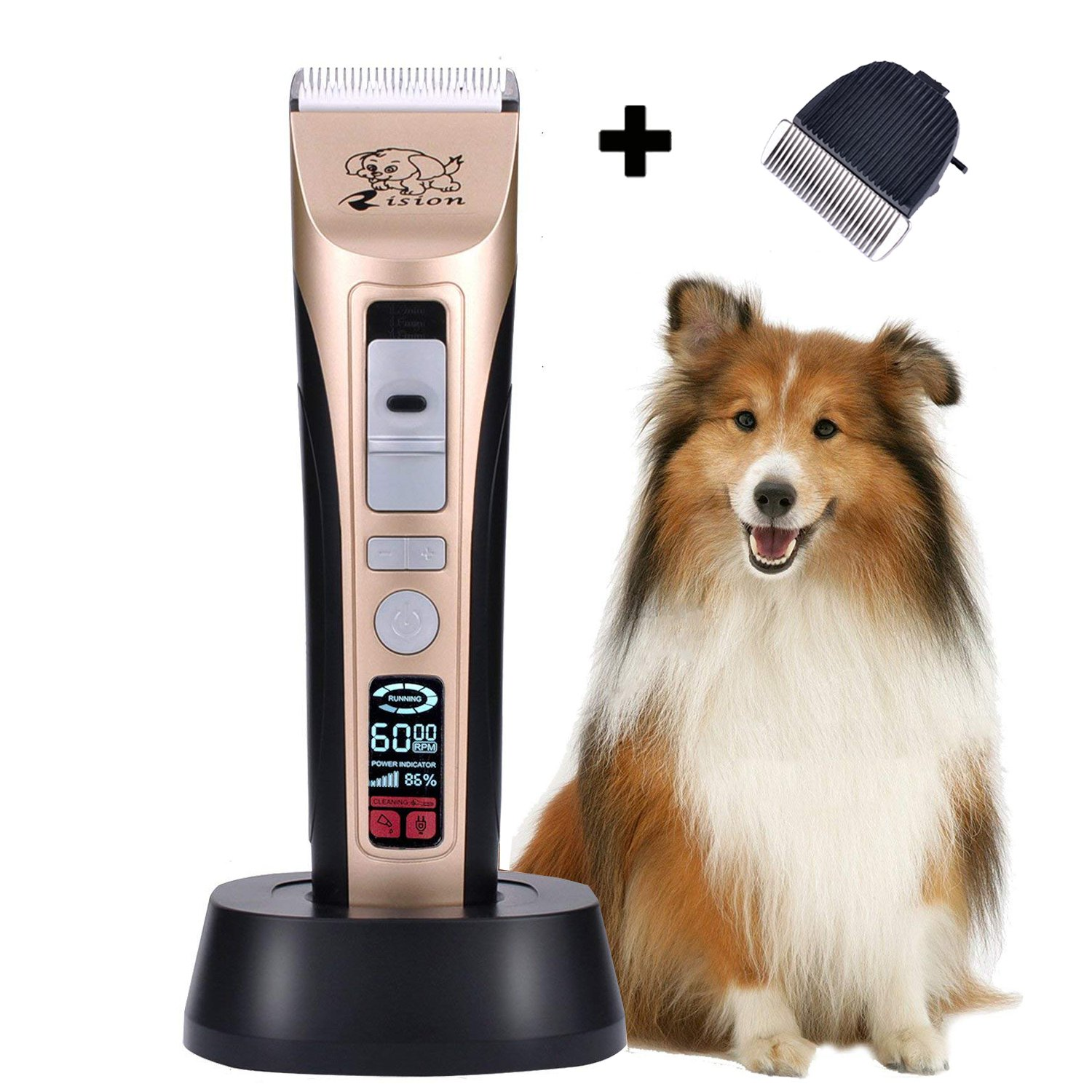 Rision Pet Grooming Clippers, 5 Speed(MAX 7,000RPM) Professional Dog Trimmer, Low Noise Rechargeable Cordless Pet Shaver for Dogs Cats and Other Animals