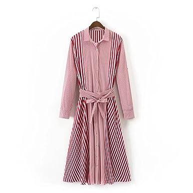 c9fffdaafa02 Henraly women clothing long sleeve lapel striped spliced belt shirt dress  Female slim long dresses RedS