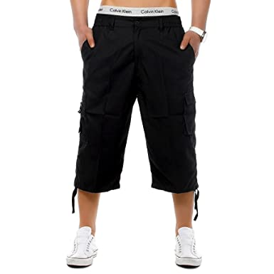 onpointlook Mens Big Size Shorts 3/4 Combat Cargo Casual Pants Elasticated  Waist Pockets Plus