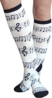 product image for Chrissy's Socks Women's Music Sheet Socks Black/White