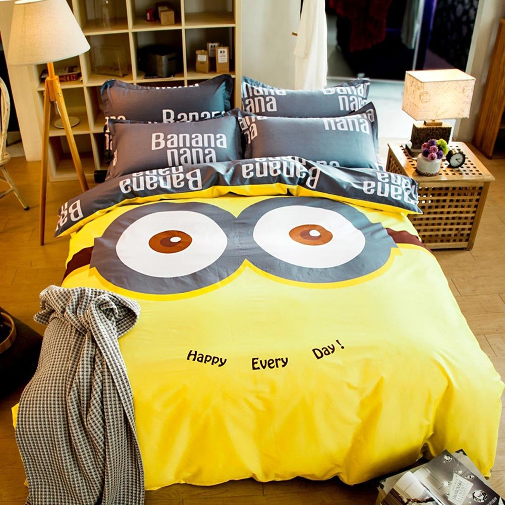 Sport do Cute Cartoon Character Despicable Me Minions Children Soft Yellow Bedding Sets,100%Cotton Home Textiles Duvet Cover and Flat Sheet,4Pc,Full Size,Gifts for Kids