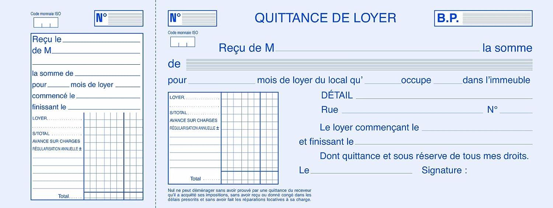 ELVE 24848 Bloc Quittances Loyer Papier Chèque Amagnétique 270 x