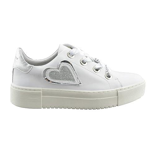 Cafe Noir Sneakers Allacciata in Pelle con Cuore Glitter IDD144 Bianco, 36