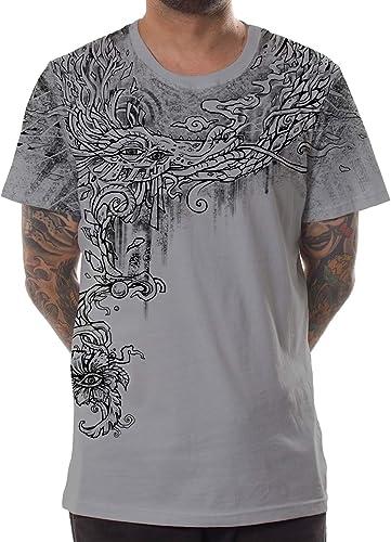Camiseta Gris Estampada con Arte gráfico Ojo de dragón para Hombre - Ropa Alternativa para Festival: Amazon.es: Ropa y accesorios