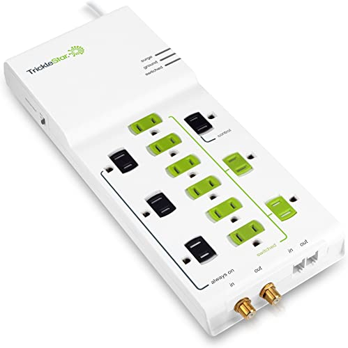 TrickleStar 12 Outlet Advanced PowerStrip, 4320 Joules, Coax RJ11 Secondary Protection, 4 foot cord