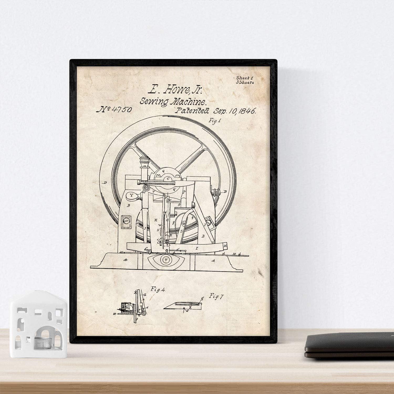 Nacnic Poster con Patente de Maquina de Coser 2. Lámina con diseño de Patente Antigua en tamaño A3 y con Fondo Vintage: Amazon.es: Hogar