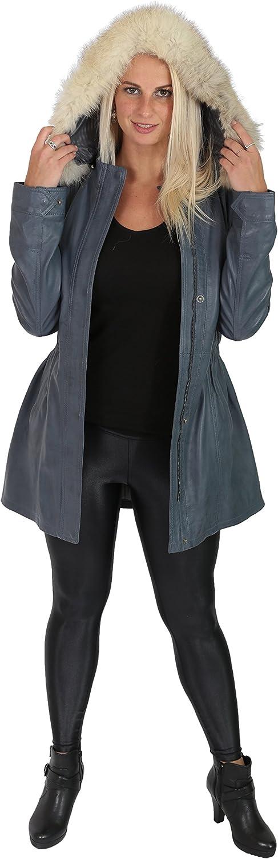 Dames Duffle Cuir Véritable Manteau Encapuchonné Ajusté 3/4 Longueur Parka Veste Noir Marron Bleu Ciel - Nina