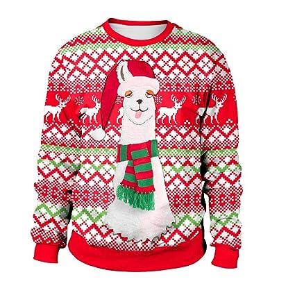 LiféUP Suéter de Alpaca navideña, imitación, Estampado Jacquard, Estampado 3D, Sudadera con