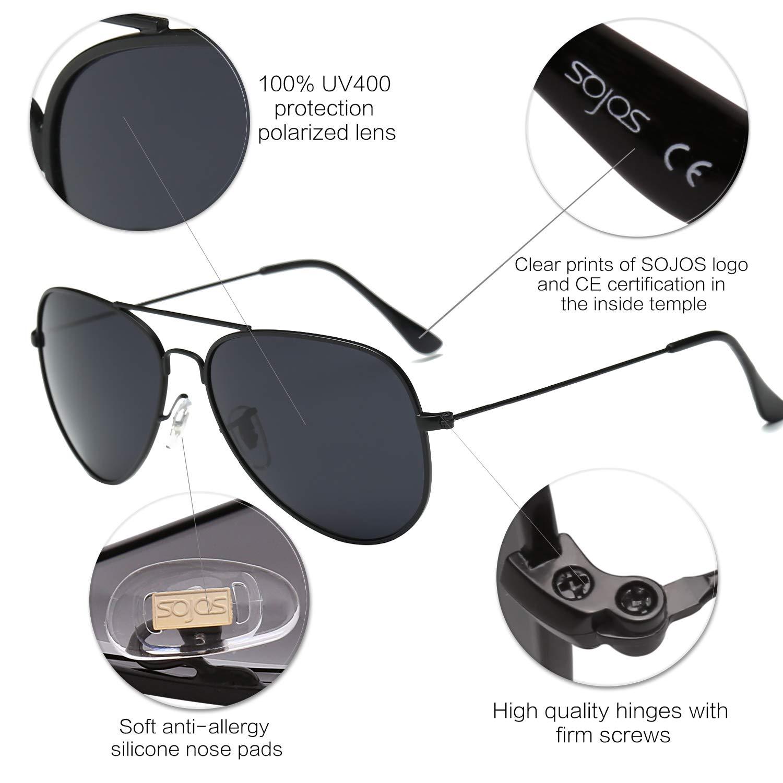 SOJOS Gafas De Sol Para Hombres Y Mujeres Clásico Marco Metal Lentes Espejo Polarizadas SJ1054