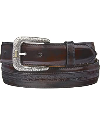 5e8104a0b Lucchese Men's Cherry Goatskin Leather Belt Black Cherry 30 at Amazon Men's  Clothing store: