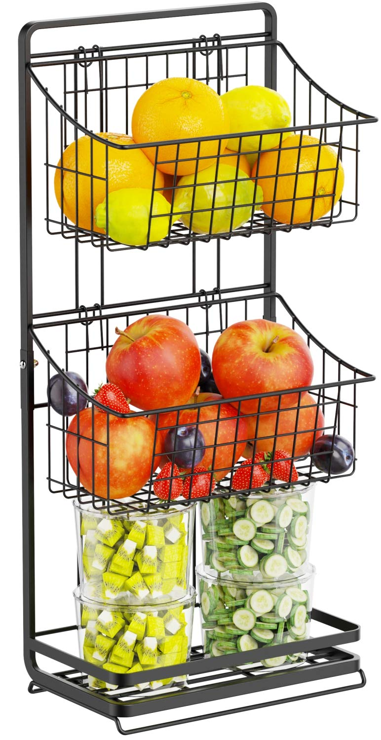 2 Tier Fruit Basket GSlife Small Wire Fruit Basket Stand with Detachable