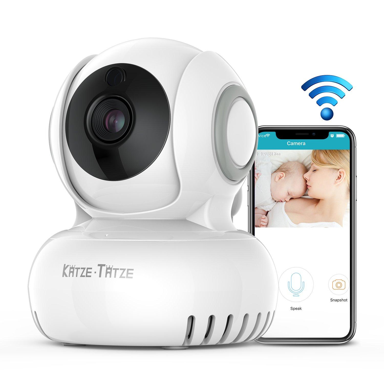 Katze-Tatze WiFi Camera, Baby Monitor WiFi Home Surveillance IP Camera Baby/Pet/Nanny Monitor, Work Echo Show Alexa, 2-Way Audio & Night Vision, Pan/Tilt, Motion Detect