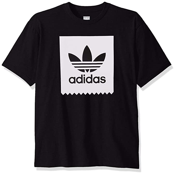 adidas Originals Men's Skate Solid Blackbird Tee, black/White, Large
