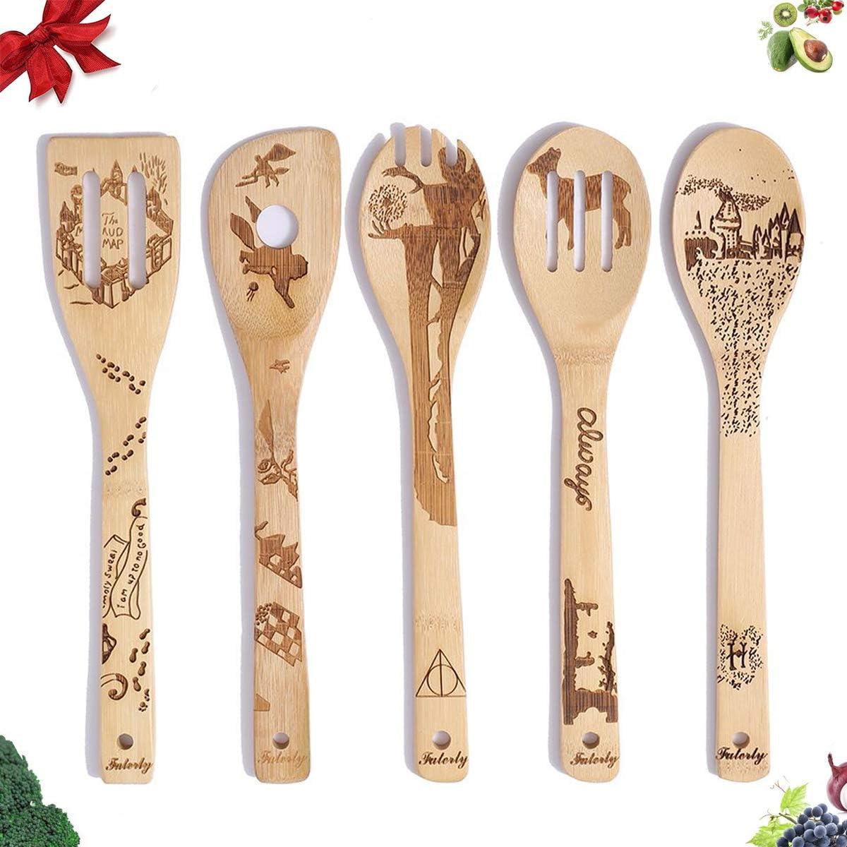 Dacestar 5 PCS Wooden Cooking Spoon Set,Magic Kitchen Utensils Set Cooking Spoons,Non-stick Bamboo Utensil Set
