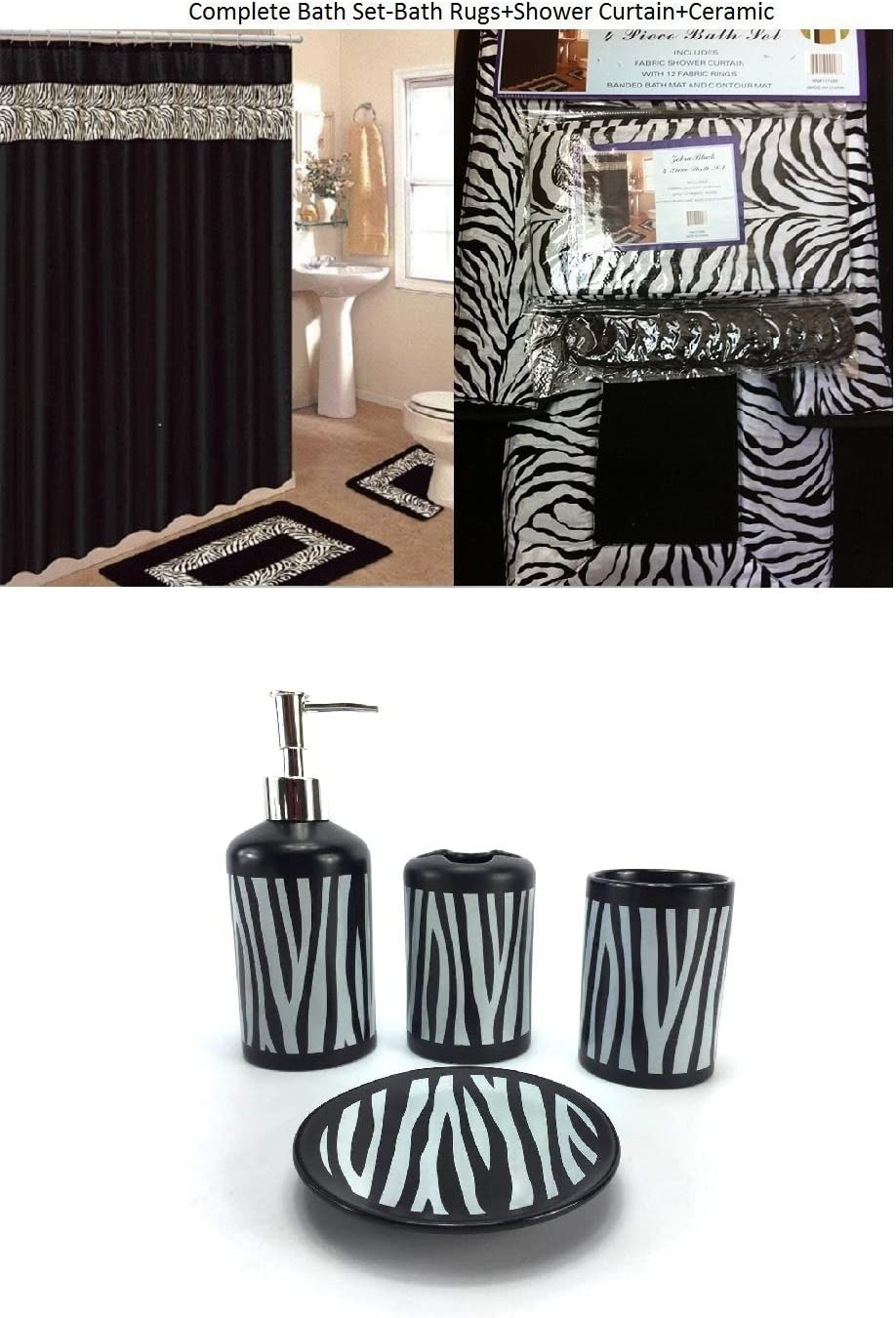 8 Piece Bath Accessory Set Black Zebra Animal Print Bath Rug Set