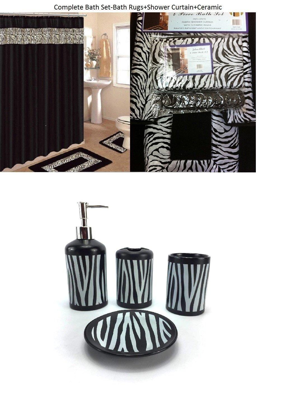 Amazon.com: 19 Piece Bath Accessory Set Black Zebra Animal Print ...