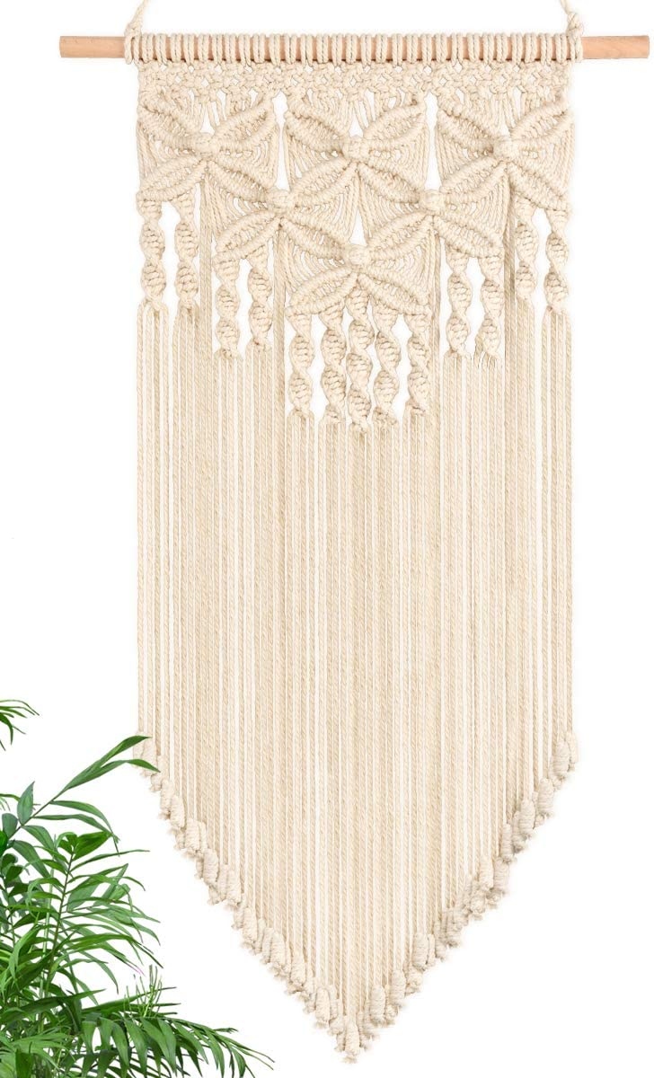 Macrame Wall Hanging - Handmade Woven Nordic Home Decor White Macrame Tapestry Bohemian House Living Room Bedroom Gallery Wall Art Décor, 16Wx28L