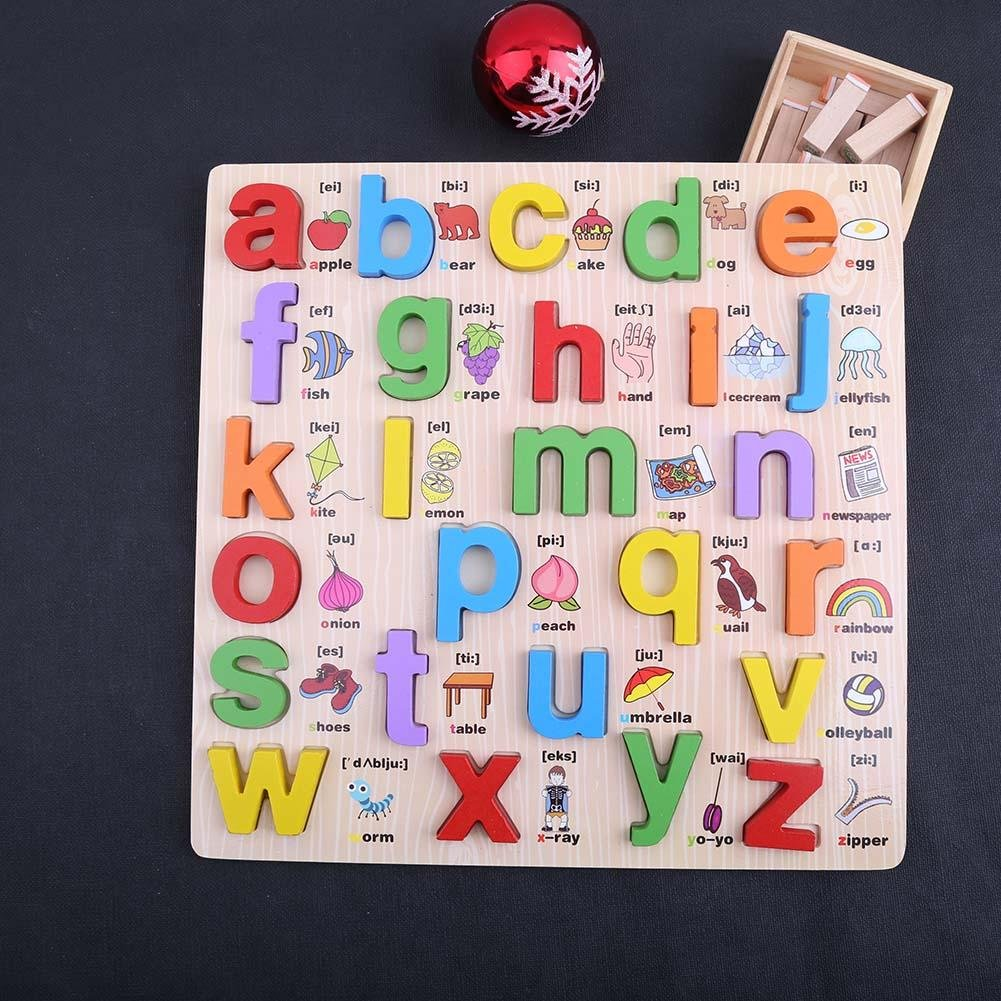 Chinatera Wooden Alphabet English Letters Jigsaw Puzzle Toy Kid Early Learn Educational Toys