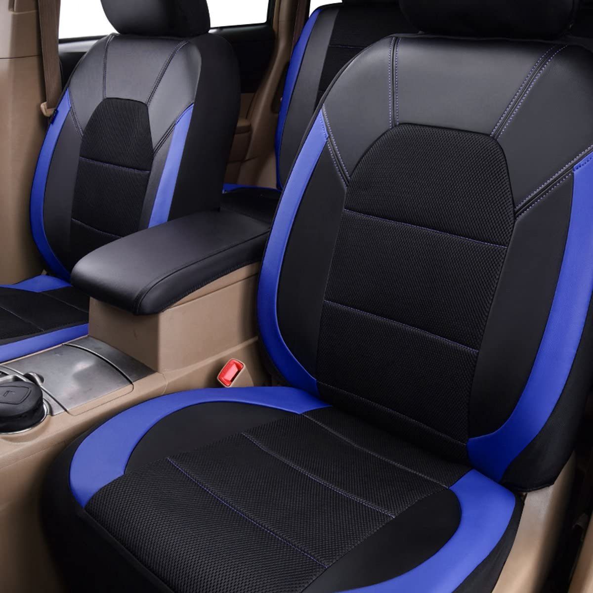 CAR PASS Leather and Mesh Universal Fit Car Seat Covers 11PC, Black and Blue Trunkcs,Suvs,Airbag Compatible,Inside Zipper Design and Opening Holes for Headrest for Sedans