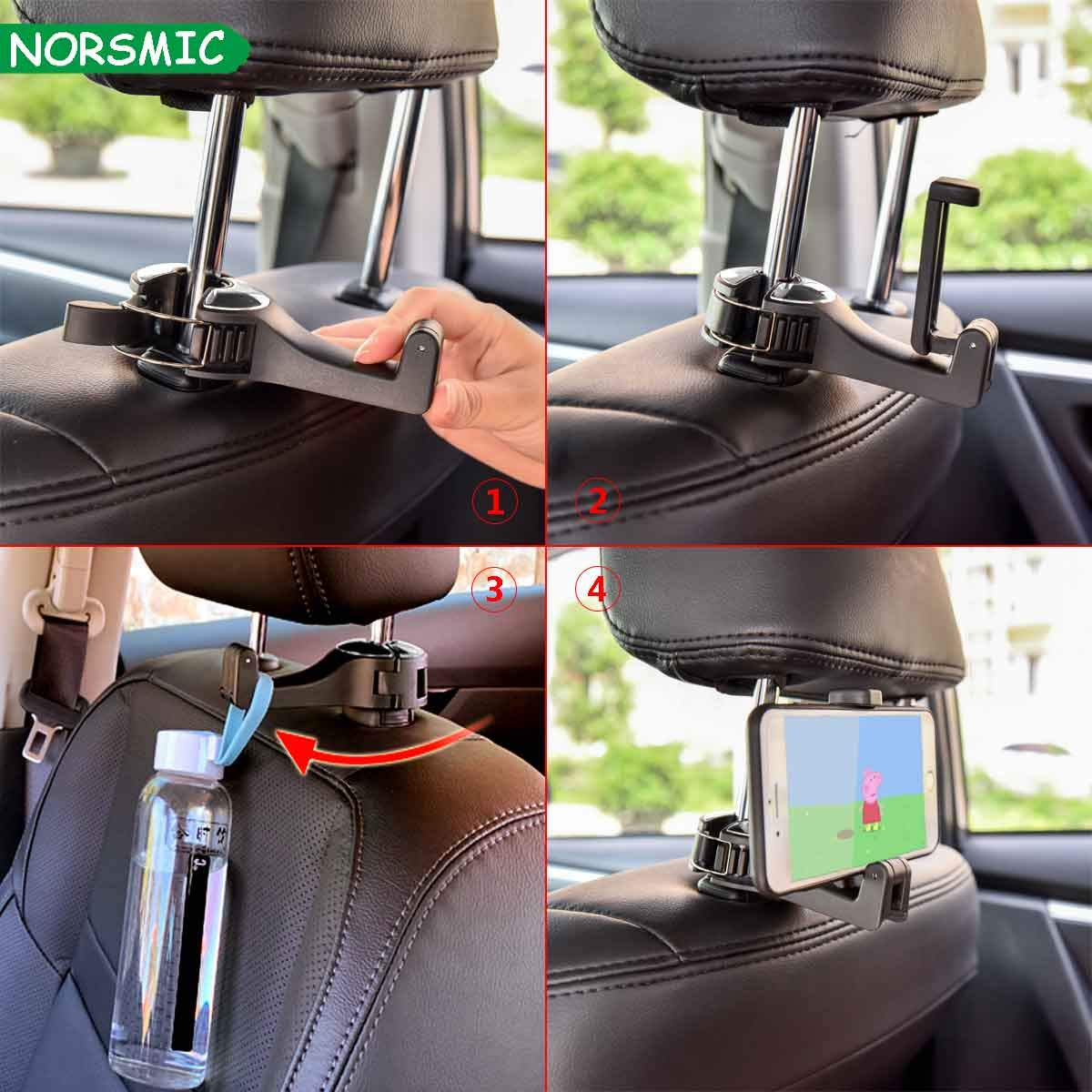 2Pack Scratch Free Grocery Cloth Universal for Most Car and Phon 360/° Lock Up to 15-lb Hook for Bag Purse Umbrella Stable and Vibration Absorbent Car Headrest Hook /& Phone Mount Holder 2-in-1,