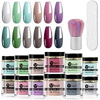 MTSSII Dip Nail Powder Kit 12 Color Powder Refill Set Nail Dip nail Kit with Nail File&Brush Nail Dip Kit No UV/LED Lamp…