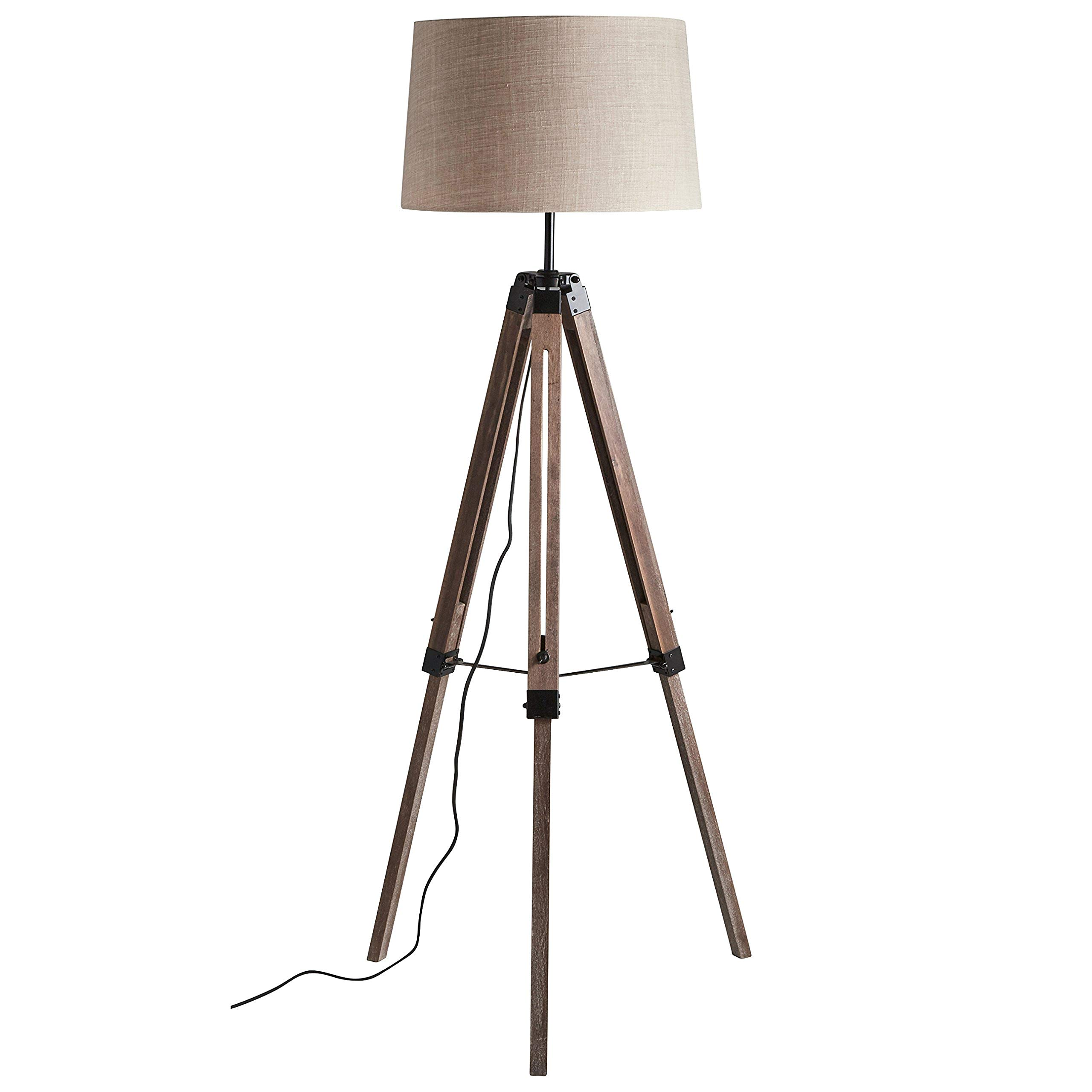 Stone & Beam Modern Tripod Floor Lamp, 59.5''H, With Bulb, Pine with Linen Shade