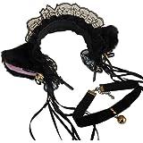 猫耳 フリルカチューシャ 鈴付き チョーカーセット コスチューム用小物 ブラック 約30㎝